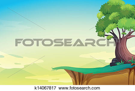 Clip Art of A big old tree near the cliff k14067817.