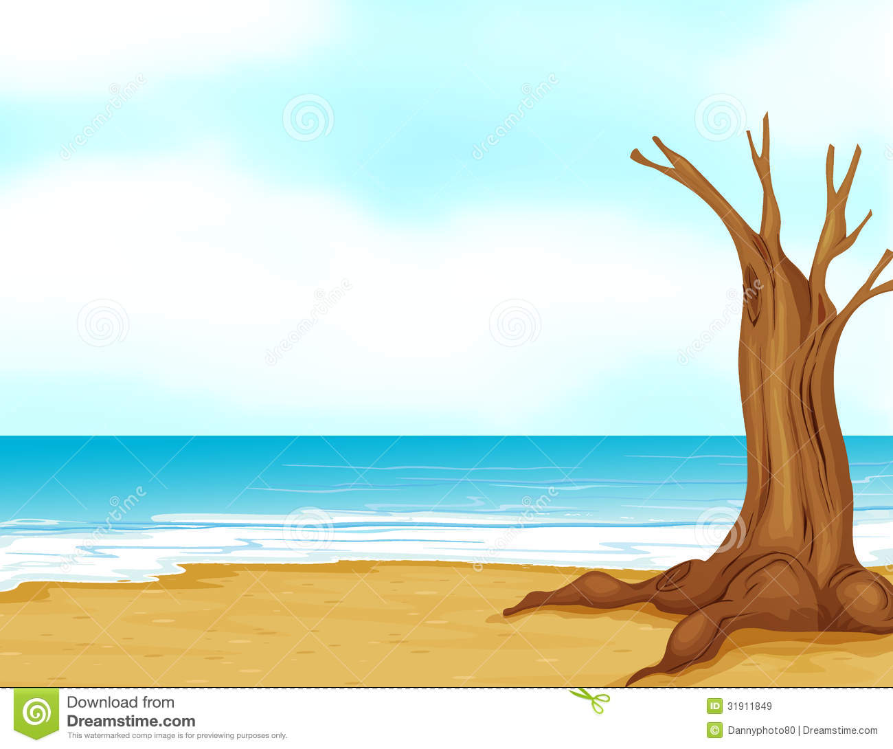 A Tree Without Leaves Near The Beach Royalty Free Stock Images.