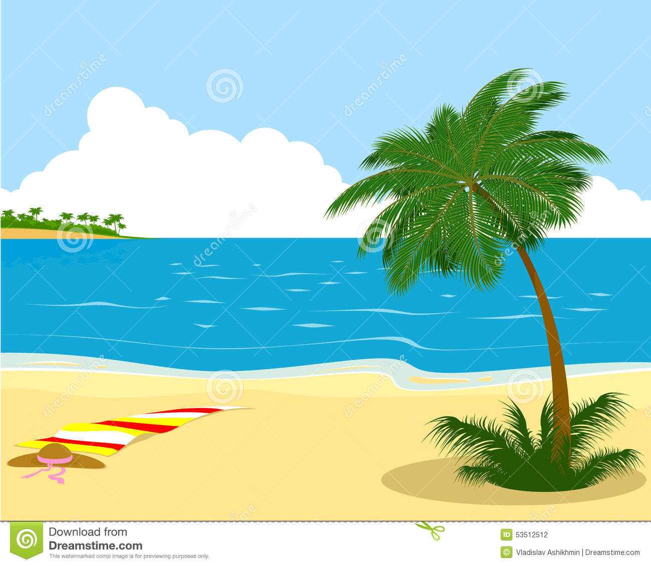 Sea Shore With Palm Tree Stock Vector.