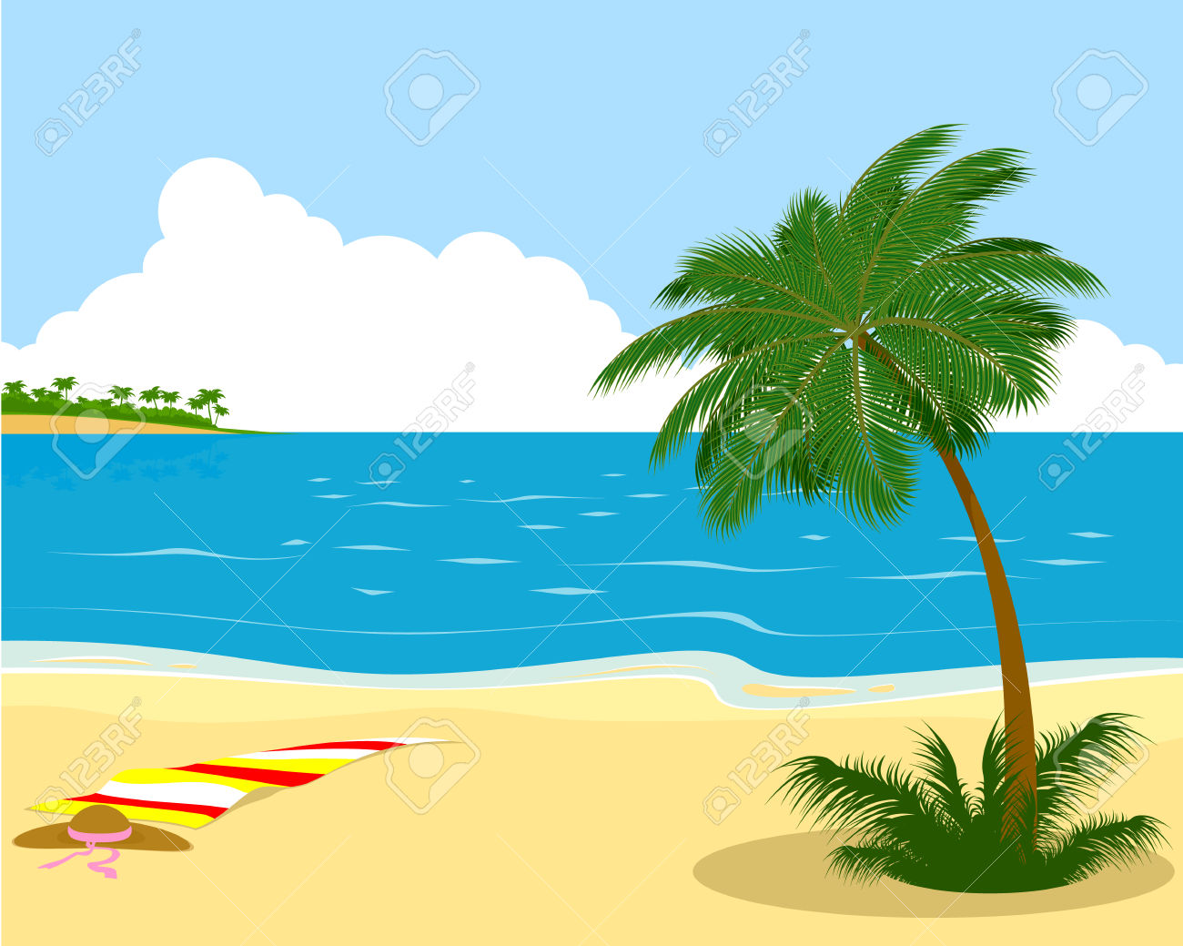 Vector Illustration Of The Sea Shore With Palm Tree Royalty Free.