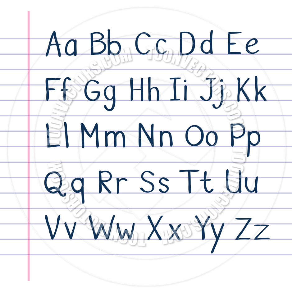 Handwritten Alphabet on Lined Paper by Colin Cramm Illustration.