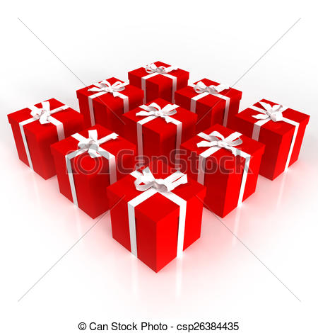 Drawings of Red gift boxes neatly arranged csp26384435.