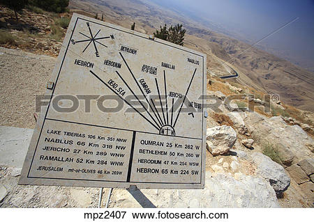 Picture of Plaque showing the distance from Mount Nebo to various.