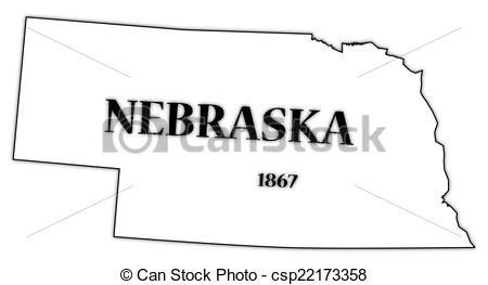 Clipart Vector of Nebraska State and Date.