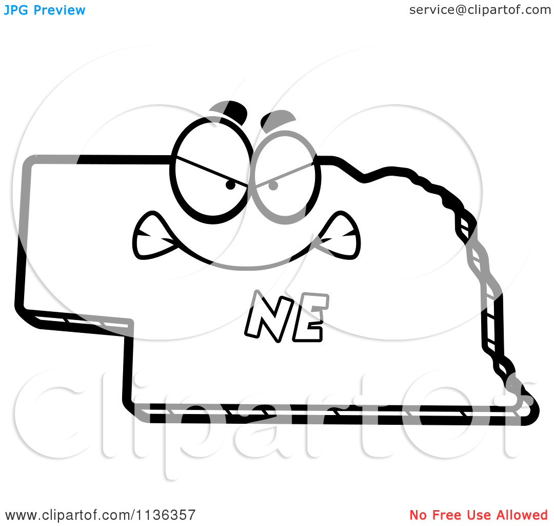 Cartoon Clipart Of An Outlined Mad Nebraska State Character.