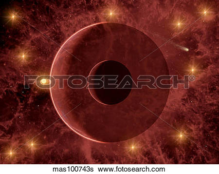 Stock Illustration of A comet passing through a nebulous star.