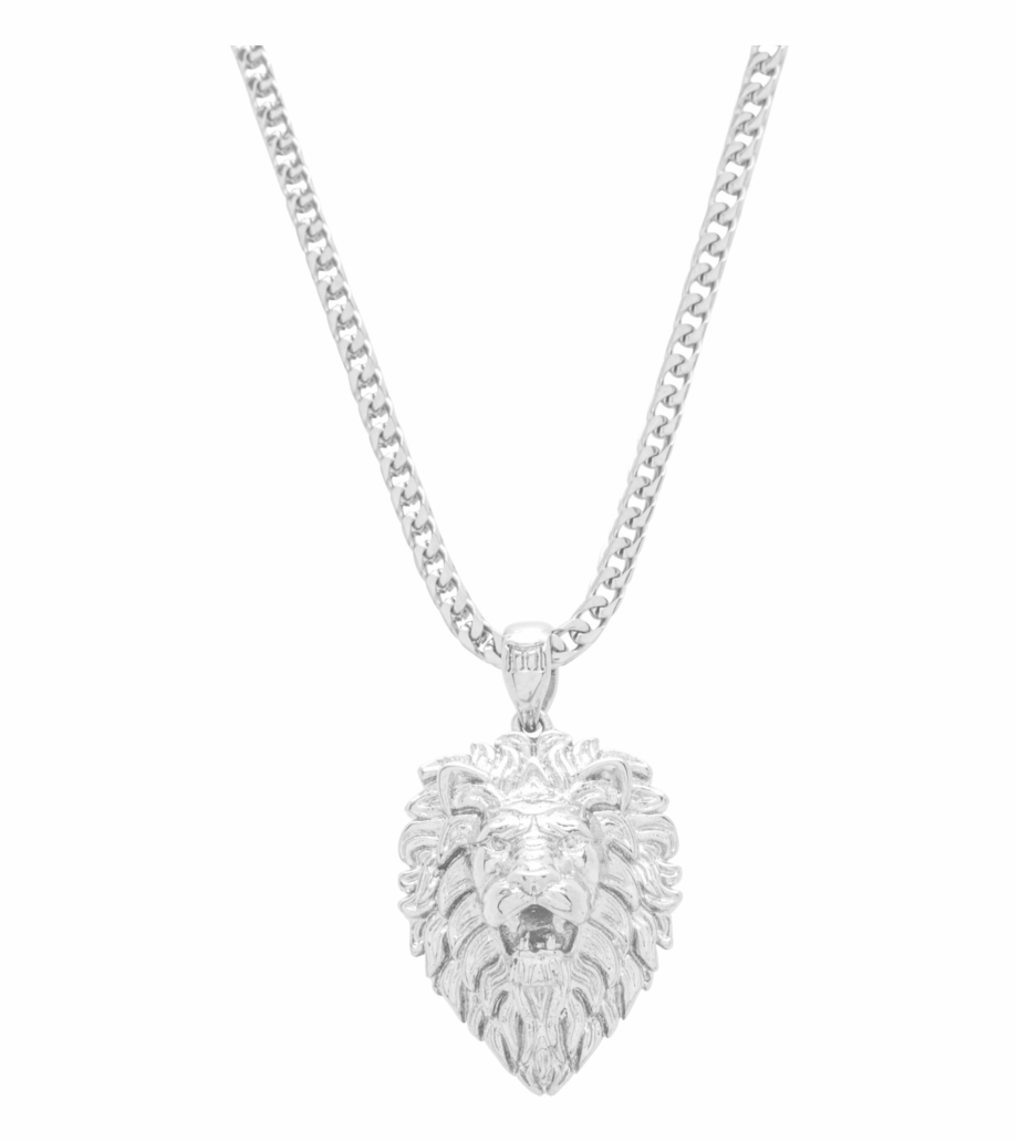 Lion Necklace White Gold Marcozo Png Lion Chain.