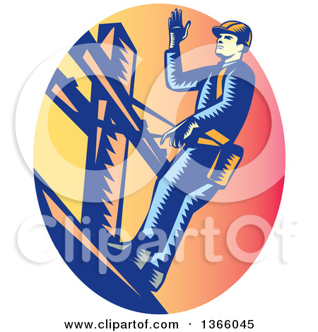 Clipart of a Retro Male Electrician with a Plug Around His Neck in.