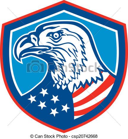 Clip Art Vector of American Bald Eagle Head Shield Retro.