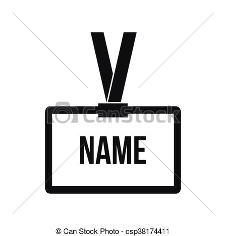 Vector Clip Art of Plastic Name badge with neck strap icon in.