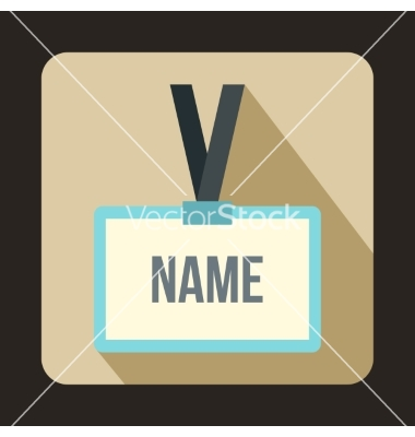 Plastic name badge with gray neck strap icon vector by Ylivdesign.