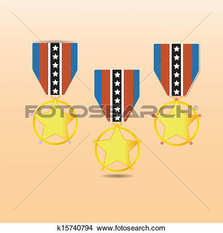 Clipart of Star medal award with neck strap k15740794.