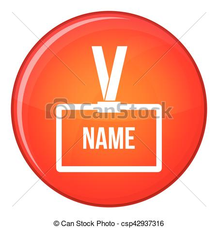 Vector Clip Art of Plastic Name badge with neck strap icon in red.