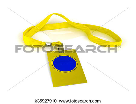 Stock Photography of badge with yellow neck strap on white.