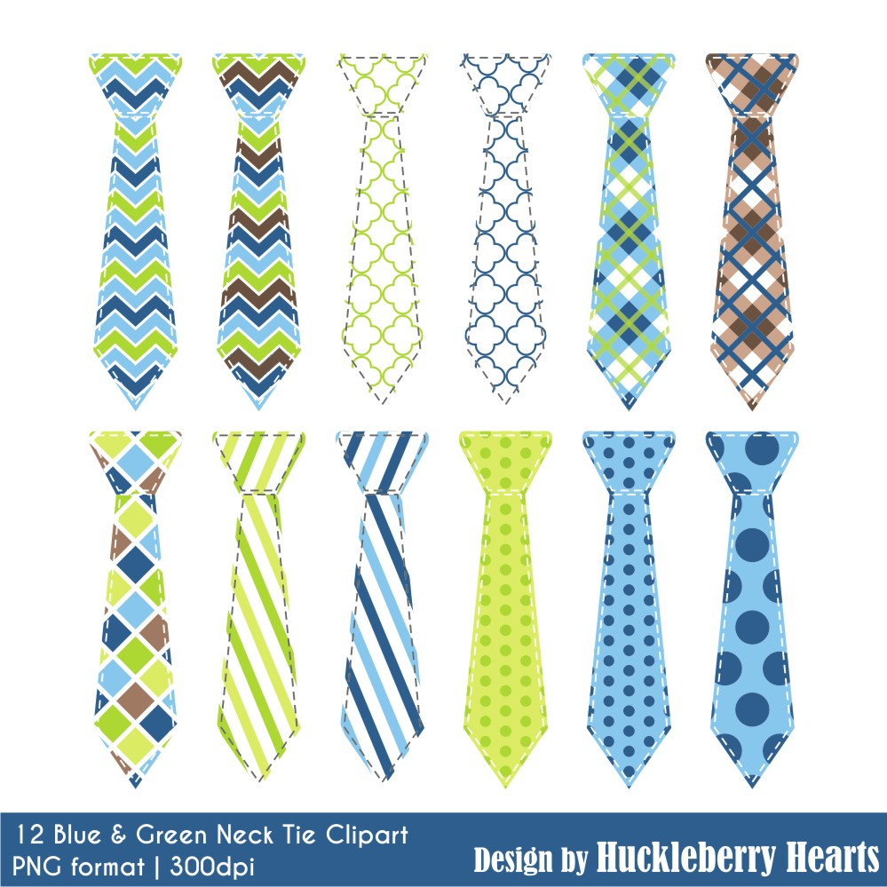 Blue and Green Neck Tie Clipart.