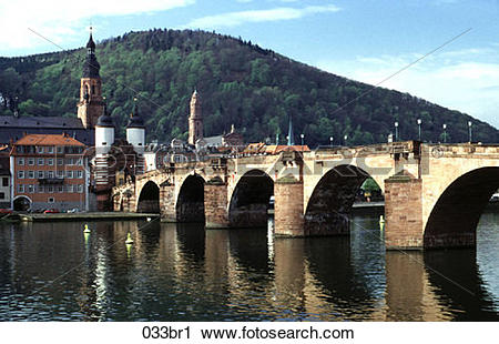 Stock Photography of Bridge, Neckar, Heidelberg, Germany, 1786.