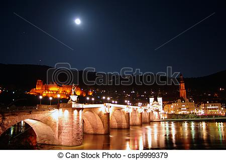 Stock Photographs of Old Bridge, Neckar, Castle and Moon at night.