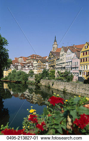 Stock Photography of Germany, Town View & Neckar River 0495.