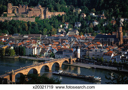 Stock Photograph of Heidelberg Castle and Neckar River x20321719.