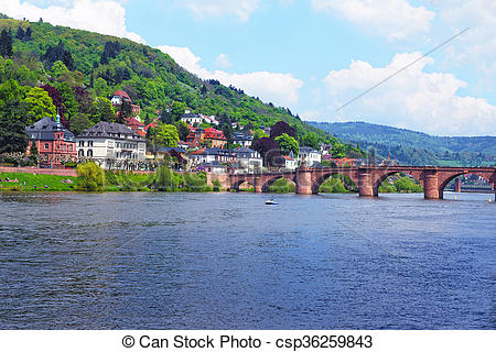 Stock Photo of Quay of Neckar river and Old bridge in Heidelberg.