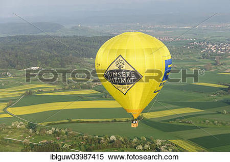 Stock Image of Hot air balloon with lettering: Unsere Heimat.