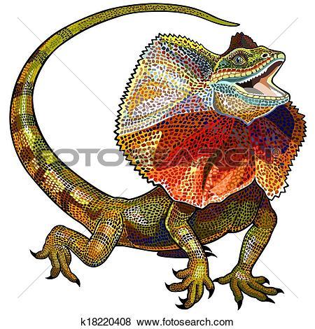 Clip Art of frill necked lizard k18220408.