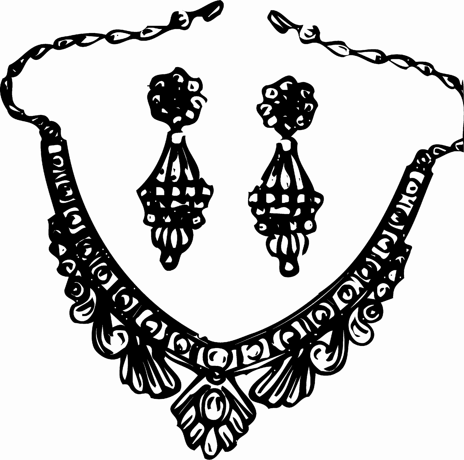 Necklace black and white clipart Awesome Jewellery Black And.
