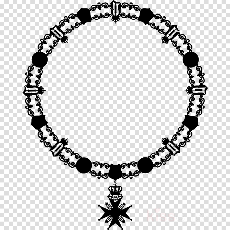 necklace clipart Bead Necklace Black & White.