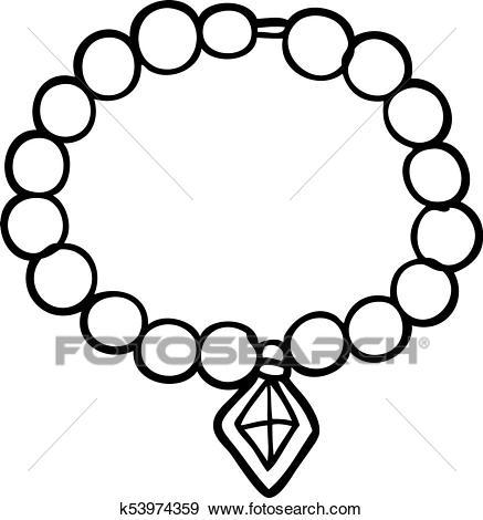 Cartoon pearl necklace Clip Art.