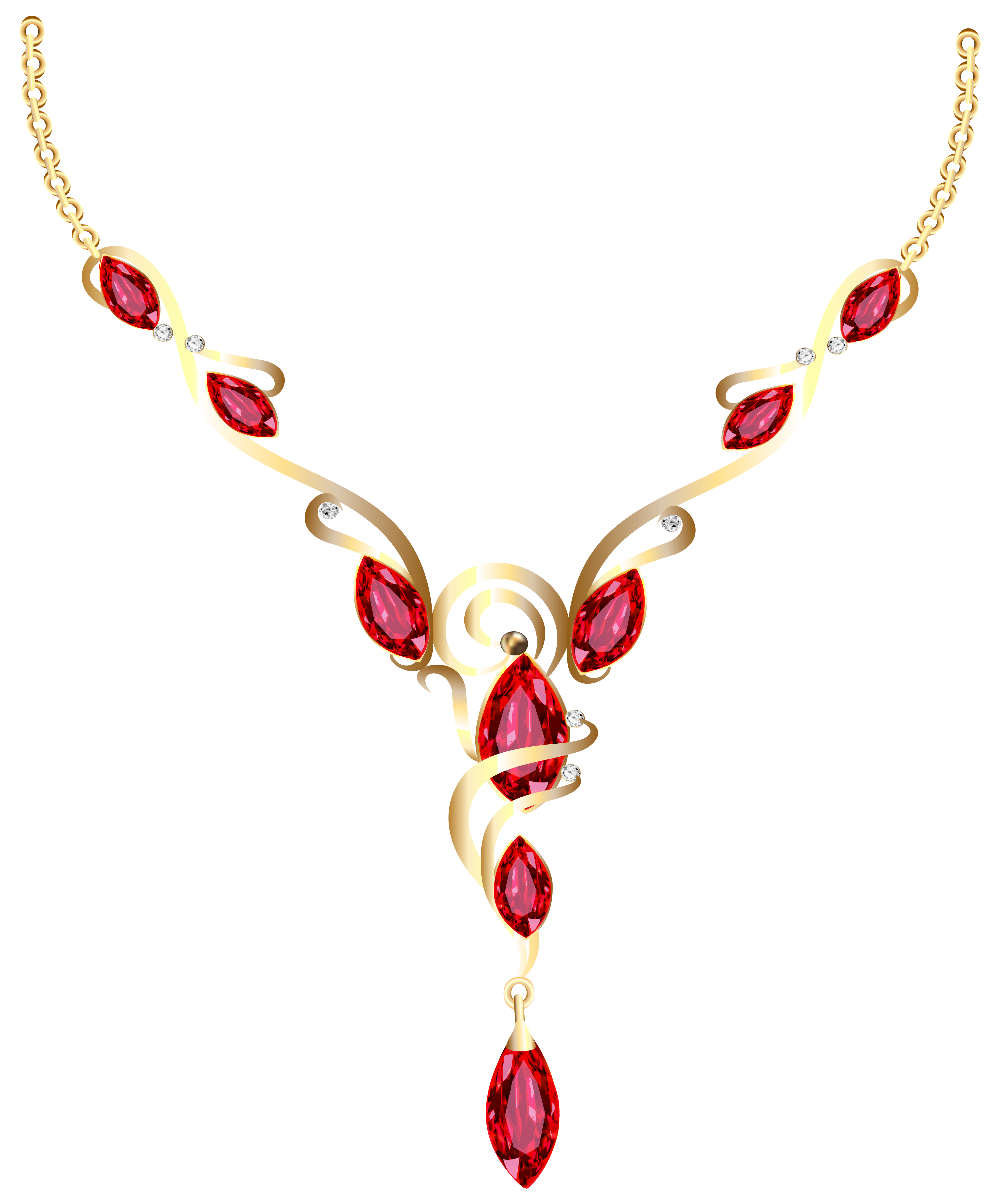 Gold Diamond Necklace PNG Clipart.