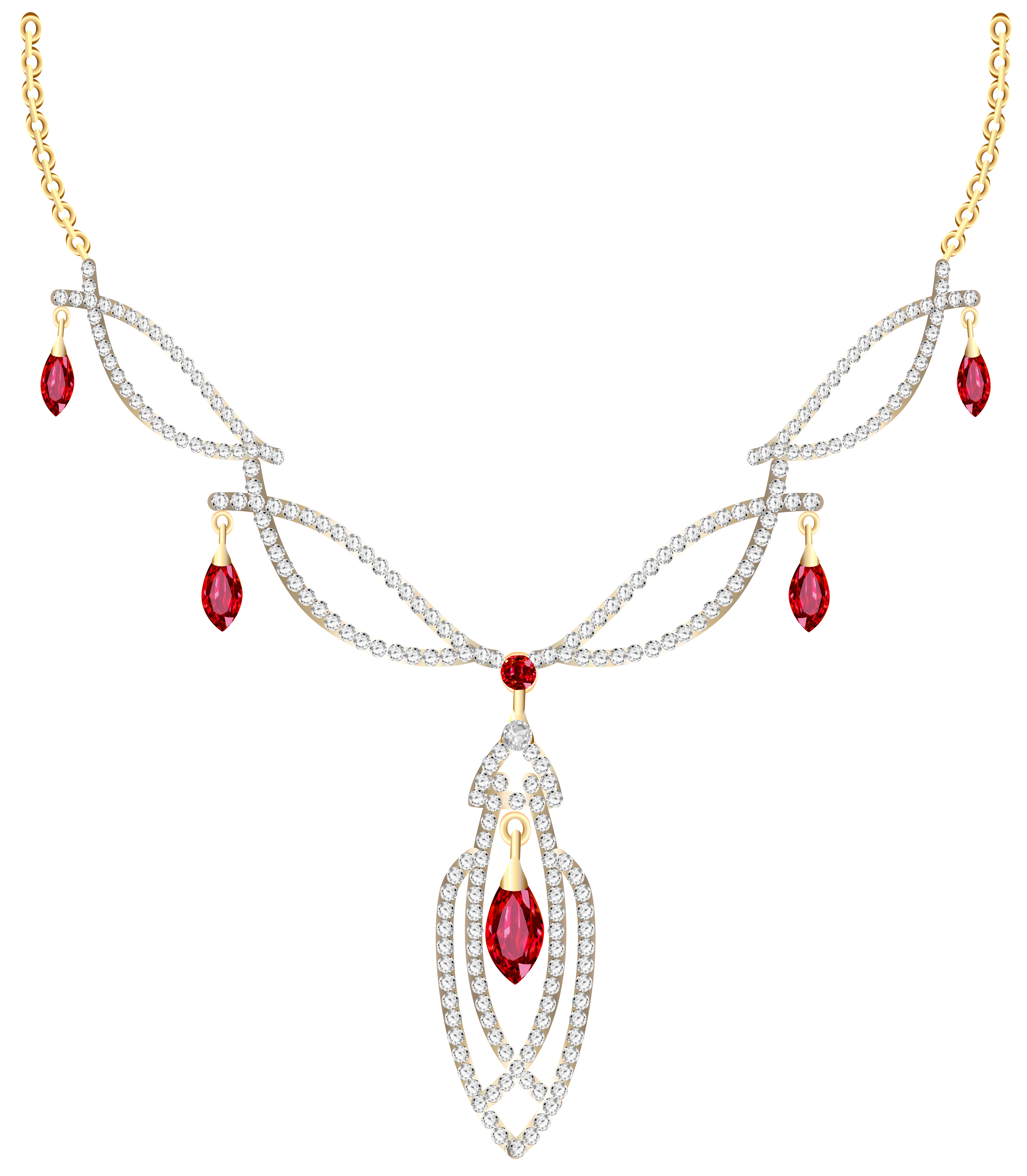 Golden Necklace with Diamonds PNG Clipart.