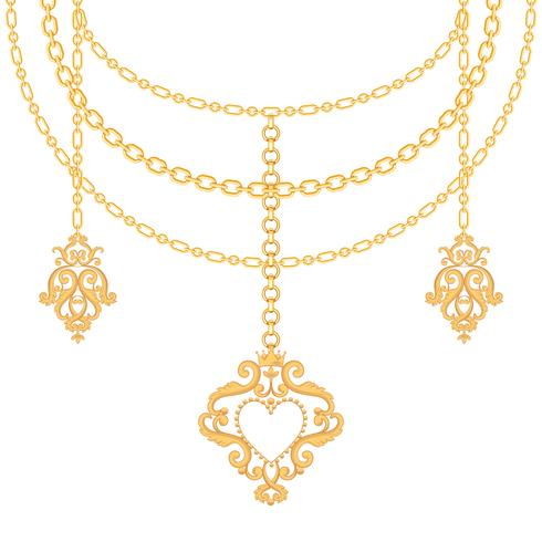 Background with chains golden metallic necklace and pendant.