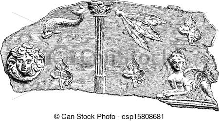 Vector of Fragment of a Sarcophagus found at the Necropolis of.