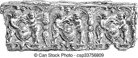 Vector Clipart of Fragment of a Sarcophagus found at the.
