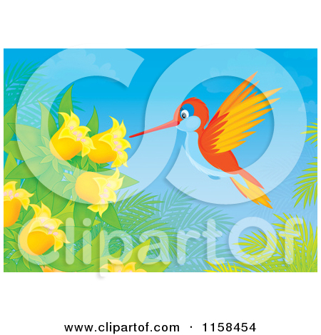 Clipart of an Outlined Cute Hummingbird Taking Nectar from Flowers.