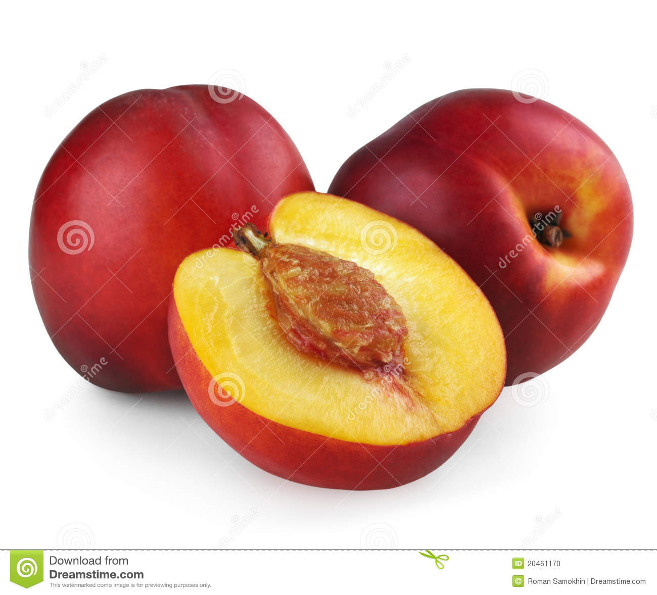 Two Nectarines With Half Stock Photo.