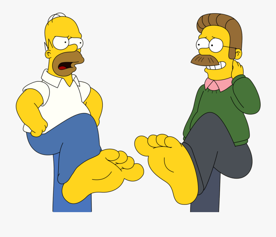 Homer Simpson And Ned Flanders Feet Stomping By Skippy1989.