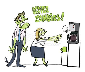 Office Zombies need coffee Clipart Image.