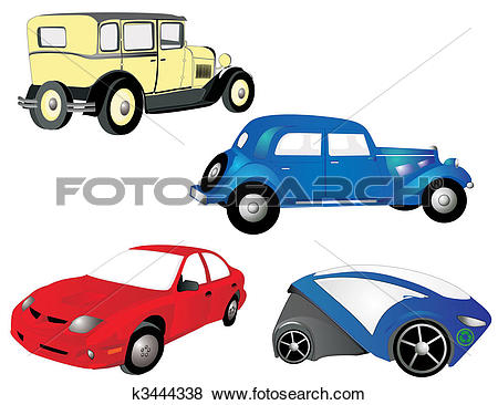 Clip Art of From the old to the new, cars, in red, blue and yellow.