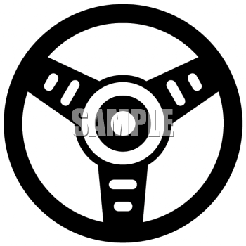 Royalty Free Clip Art Image: Simple Steering Wheel Graphic from a Car.