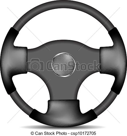 Vector Clipart of Steering wheel in black and white design.