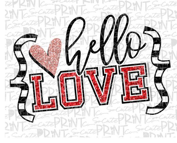 Valentines Day, Hello Love glitter clipart, xoxo clipart.