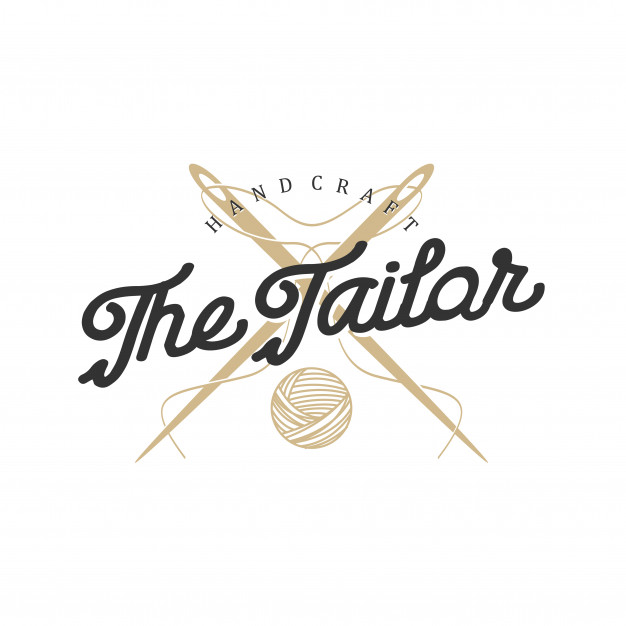 Logo for tailors in vintage style with needle and thread.