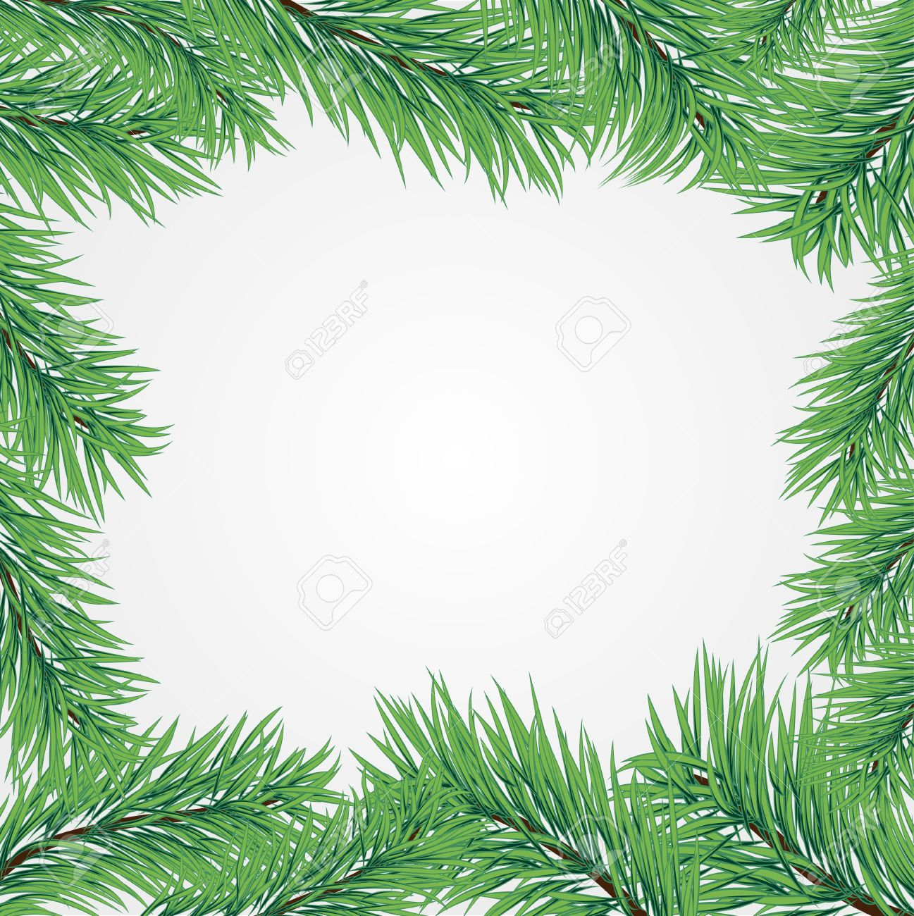 Vector Frame With Christmas Tree Branch Royalty Free Cliparts.