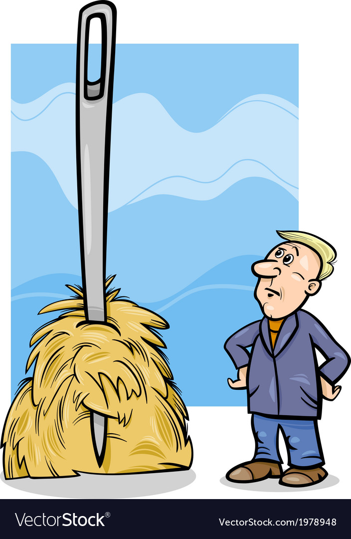 Needle in a haystack saying cartoon.