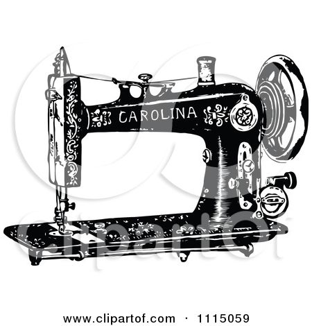 Clipart Vintage Black And White Antique Sewing Machine 2.