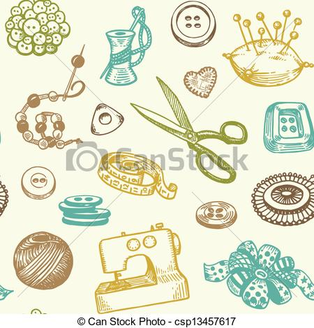Vector Clip Art of Sewing Seamless Pattern.