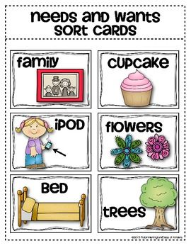 Needs and Wants Sorting Cards {Social Studies for Young.