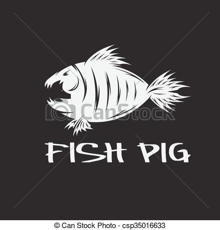Vectors of fish and pig negative space vector concept csp35016633.