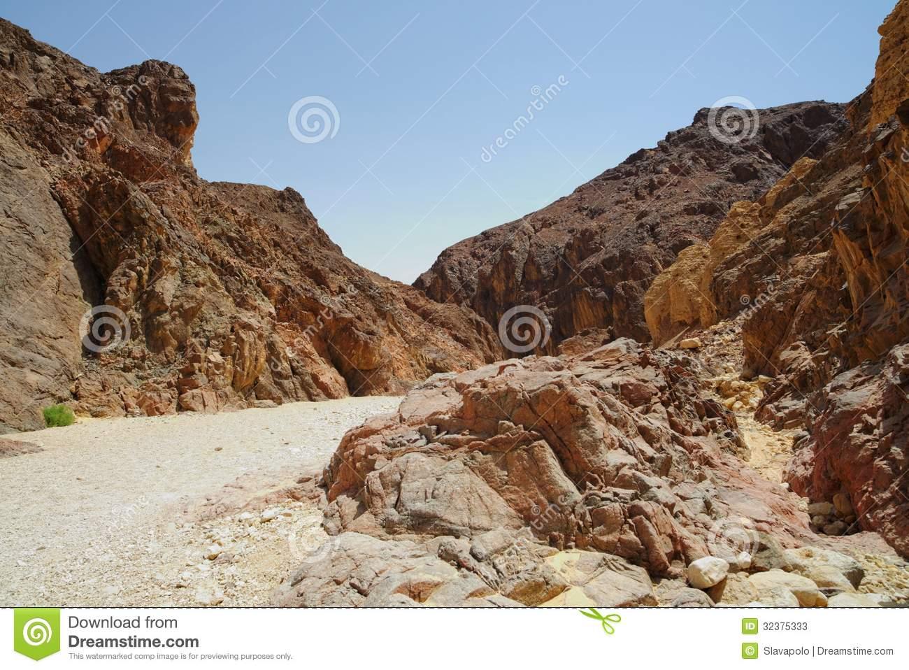Path In Scenic Desert Canyon Negev Desert Israel #yMOirq.